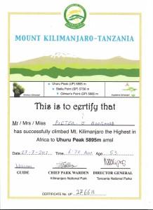kili certificaat peter