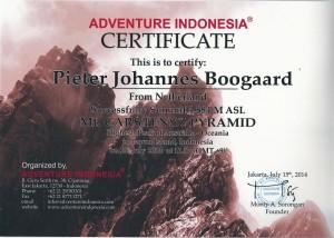 Certificaat Carstenszpyramide